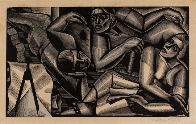 Composició de tres figures geometritzades